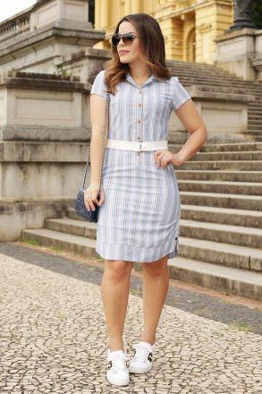 Vestido Linho Listrado com Barra Fraldada Luciana Pais 92506