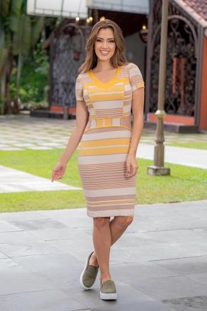 Vestido Listrado Malha Crepe Luciana Pais 93001