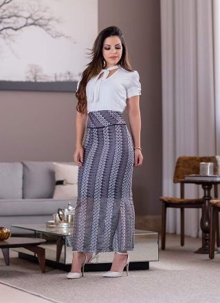 Vestido Longo com Renda  Monia Moda Evangélica 83151