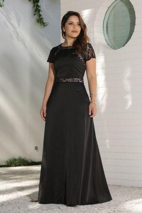 Vestido Longo  Crepe Cetim com Detalhes  Renda Kauly Moda Evangélica 2598