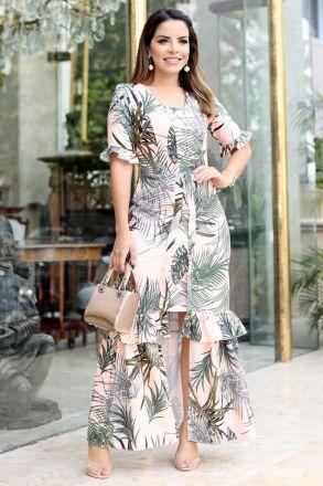 Vestido Longo Crepe Elastic Estampa Exclusiva Kauly 2687