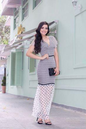 Vestido Longo em Chiffon Compose Poa Kauly Moda Evangélica 2453