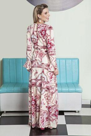 Vestido Longo em Crepe Estampada Moda Evangélica LP92137