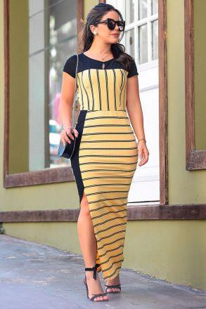 Vestido Longo em Malha Canelada com Detalhe Liso Luciana Pais 92387