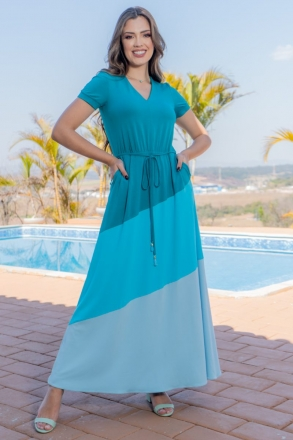 Vestido Longo Malha Collor Block Luciana Pais 93148