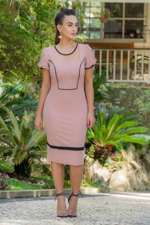 Vestido Luciana Pais Crepe com Recortes em Tule 92979