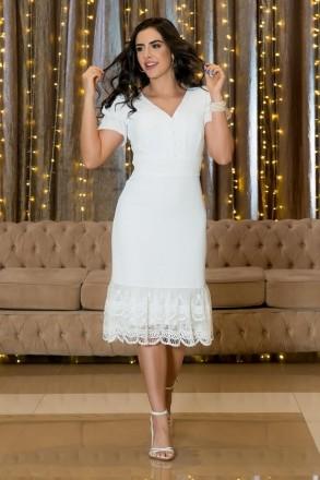 Vestido Luciana Pais Crepe Detalhe Renda 92926 Branco