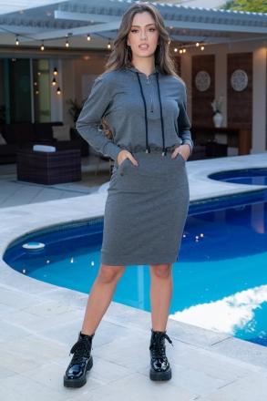 Vestido Luciana Pais em Moletom 93058 Cinza