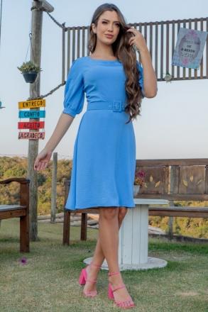 Vestido Luciana Pais Lady Like Crepe Amassadinho Azul 93022