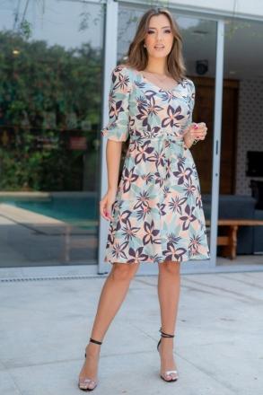 Vestido Luciana Pais Lady Like Crepe Estampado 93090