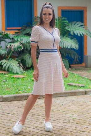 Vestido Luciana Pais Lady Like Listrado Malha Crepe Retilinea com Elastano 93036