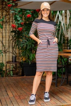 Vestido Luciana Pais Malha Canelada com Bolso 93051