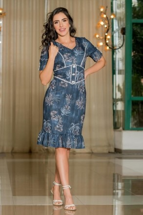 Vestido Luciana Pais Malha Canelada Estampada 92916