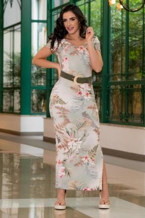 Vestido Luciana Pais Malha Canelada Fenda Lateral 92917 Estampado