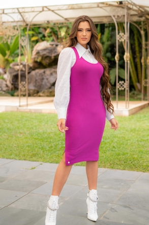 Conjunto Vestido Luciana Pais Malha Canelada Pink e Blusa Algodão Branco 93027