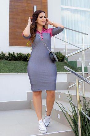 Vestido Malha Canelada Leve com Gola Polo Luciana Pais 92719