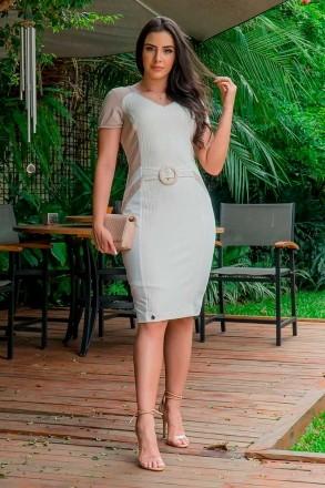 Vestido Malha Canelada Recortes Luciana Pais 92906 Off White