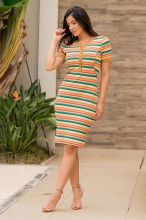 Vestido Malha Crepe Listrado Botões Frontais Luciana Pais 92862