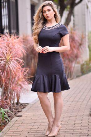Vestido Malha Detalhe Bordado  Kauly Moda Evangélica 2349