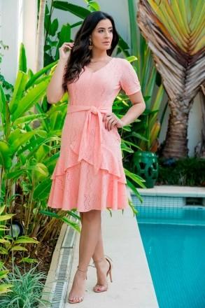 Vestido Malha Lasie e Laço Luciana Pais 92877 Rosa