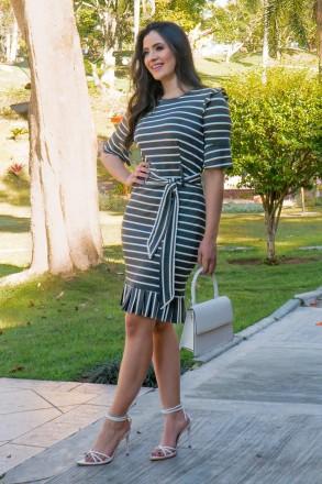 Vestido Malha Mescla Listrado Luciana Pais 92809 Cinza