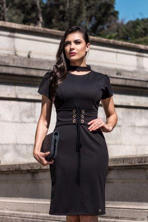 Vestido Malha Pisa com Cinto Luciana Pais 92212