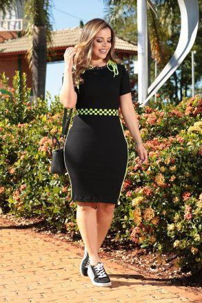 Vestido Malha Rib Canelada com Elástico Neon e Forro Luciana Pais 92493