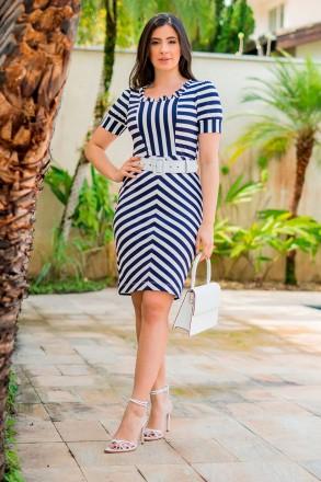 Vestido Malha Rib com Cinto Luciana Pais 92835