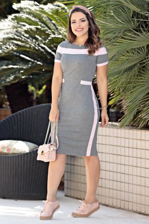 Vestido malha rib recortes e forro Luciana Pais 92550
