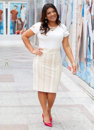 Vestido Malha Stripes Monia Moda Evangélica 84157