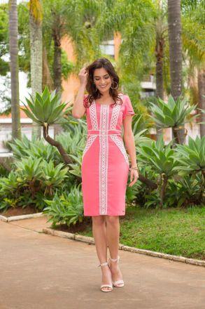Vestido Malha Stroker Forrado Kauly Moda Evangélica 2400