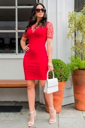 Vestido Malha Tricô Manga Decote Tule de Poá Luciana Pais 92861 Vermelho