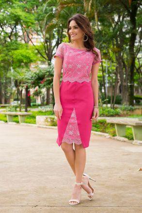 Vestido Moda Evangélica Shantung Kauly 2418
