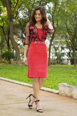 Vestido Moda Evangélica Veludo e Renda Kauly 2416