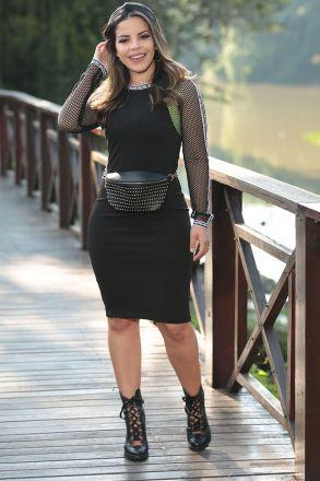 Vestido Montaria Forro Detalhe Tela Luciana Pais 92466