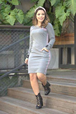 Vestido Montaria Mescla detalhe Fita de Tigre Luciana Pais 92444