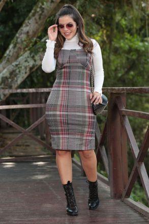 Vestido Montaria Xadrez com Forro e Bojo Luciana Pais 92464