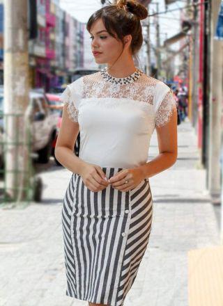 Vestido Náutico com Renda Monia Moda Evangélica 84158