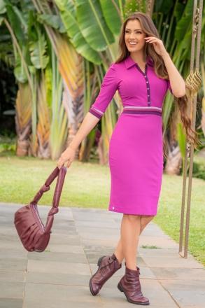 Vestido Pink Luciana Pais Malha Canelada Detalhe Elástico  93026