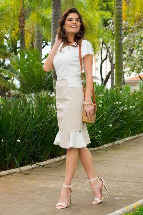Vestido Piquet Dual Color Kauly Moda Evangélica 2402