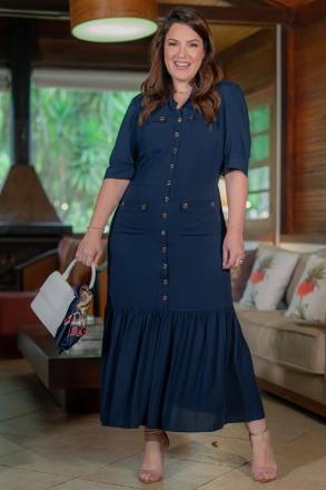Vestido Plus Size Azul Kauly Viscolinho Midi Botões Frontais e Babados 3202