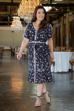 Vestido Plus Size Crepe Estampa Vista Fake Kauly 3045