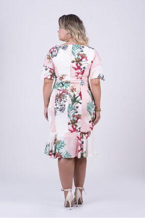 Vestido Plus size em Viscose Estampada Kauly Moda Evangélica 2450