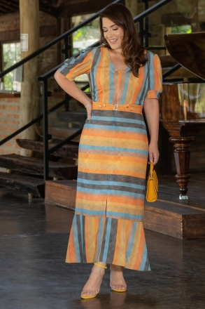 Vestido Plus Size Estampado em Crepe Kauly 3055