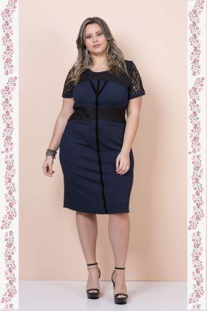 Vestido Plus Size Jacquard e Renda Moda Evangélica Kauly 2342