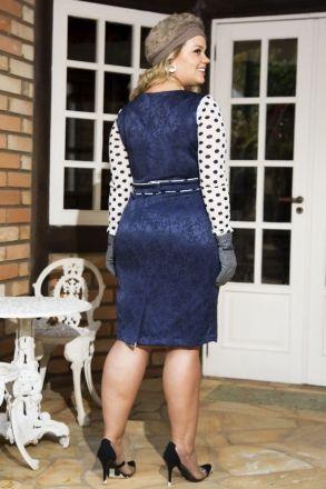 Vestido Plus Size Jacquard Kauly 2191