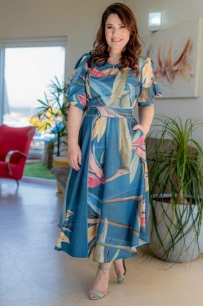 Vestido Plus Size Kauly Crepe Mangas Bufante 3157
