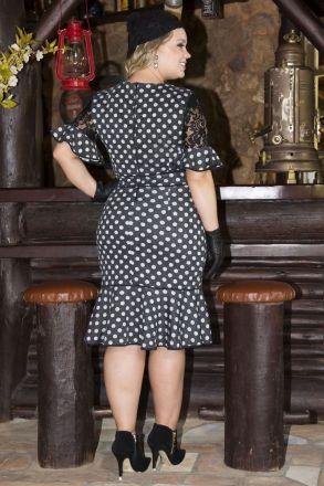 Vestido Plus Size Malha Poá Kauly 2212