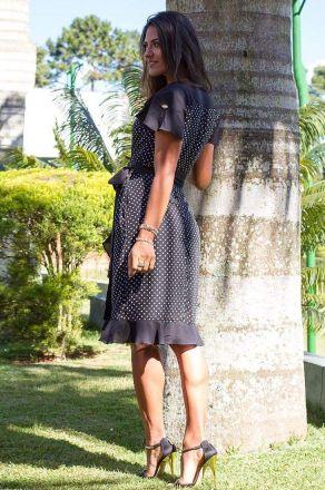 Vestido Poá com Babados Monia Moda Evangélica 73100