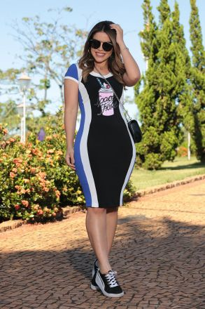 Vestido Poliamida com Aplicação e Forro Luciana Pais 92498